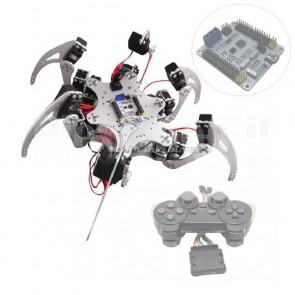 Robot a sei zampe in alluminio, 18DOF, kit completo con servomotori e controller elettronico