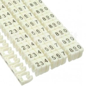 Segnacavo bianco con numeri 0-9 per cavi da 4.0mmq