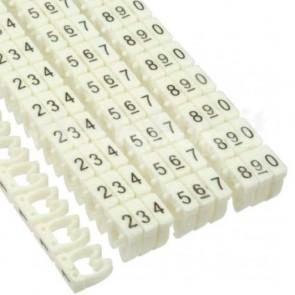 Segnacavo bianco con numeri 0-9 per cavi da 6.0mmq