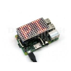 Shield matrice LED 16x8 di colore rosso per Raspberry
