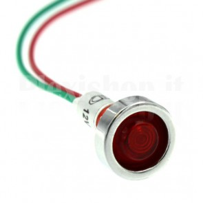 Spia luminosa XD10 led rossa 12 volt