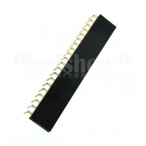 Strip di contatti angolari quadrati 1x20 femmina, passo 2.54 mm