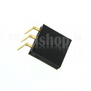 Strip di contatti angolari quadrati 1x3 femmina, passo 2.54 mm