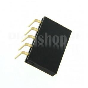Strip di contatti angolari quadrati 1x5 femmina, passo 2.54 mm