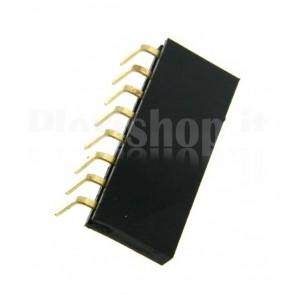 Strip di contatti angolari quadrati 1x8 femmina, passo 2.54 mm