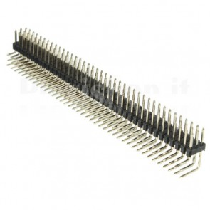 Strip di contatti angolari quadrati 3x40 maschio, passo 2.54 mm
