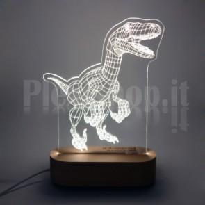 Lampada 3D T-Rex Bianca
