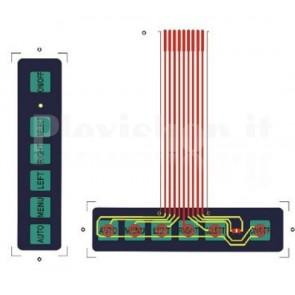 Tastierino a membrana 1x6 tasti con LED