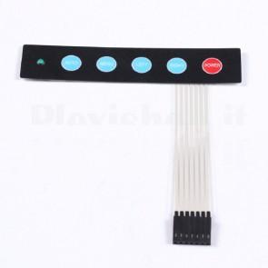 Tastierino a membrana 1x5 tasti con LED