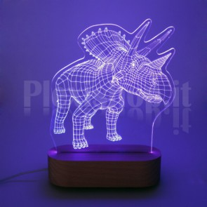 Lampada 3D Triceratopo RGB