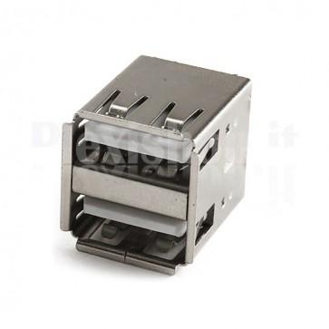 Connettore Doppio USB tipo A Femmina - 90°