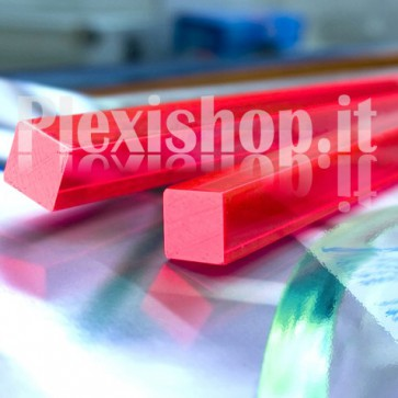 Acrylic Red Fluorescent Bar 20x20 mm