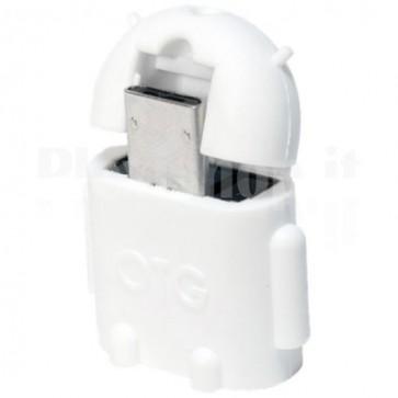 Adattatore USB 2.0 OTG MicroB M / A F per Smartphone/Tablet Bianco