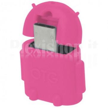 Adattatore USB 2.0 OTG MicroB M / A F per Smartphone/Tablet Fucsia