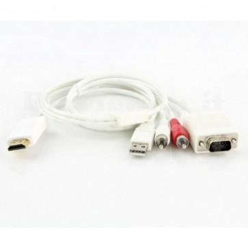 Adattatore da HDMI a VGA + audio R/L + USB