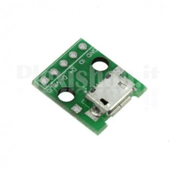 MicroUSB male adapter to 2.54mm DIP for breadboard