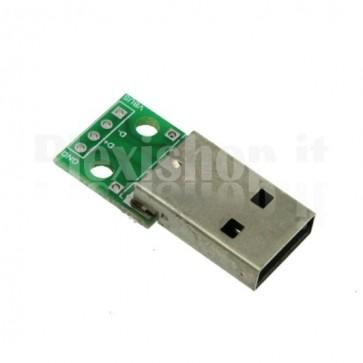 Adattatore da USB maschio a DIP 2.54mm per breadboard
