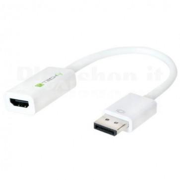 Adattatore DisplayPort 1.2 Maschio / HDMI Femmina 15cm Bianco