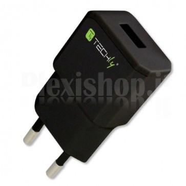 Alimentatore da Rete Italiana 1 porta USB 5V/2.1A Nero