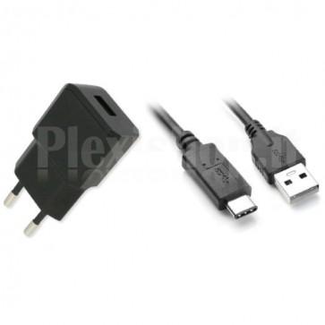 Alimentatore da Rete Italiana 5V 2.1A con cavo USB-C Nero