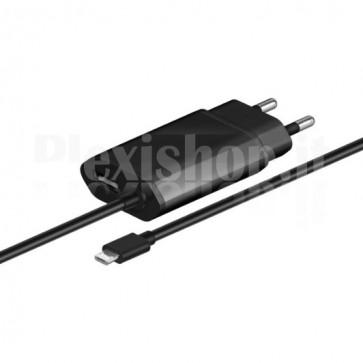 Alimentatore da Rete Italiana 1 USB con Cavo Micro USB 2.1A Nero
