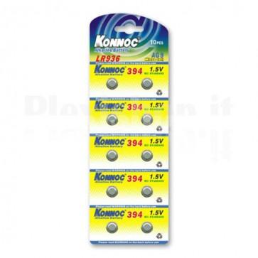Batterie a bottone Alcalina LR45 LR396 394 AG9 (set 10 pz)