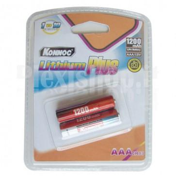Blister 2 batterie Litio mini stilo AAA 1200mAh