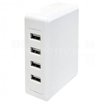 Caricabatterie 4 x USB da Scrivania con Cavo 1.2m Bianco