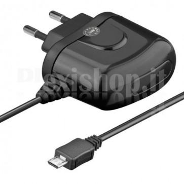 Caricabatterie USB 120-240V 2A per Smartphone e Tablet Nero