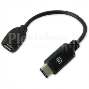 Cavo HiSpeed USB MicroB Femmina / USB-C Maschio 0,15m Nero
