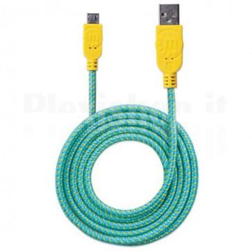 Cavo Micro USB Guaina Intrecciata USB/MicroUsb 1.8m Azzurro/Giallo