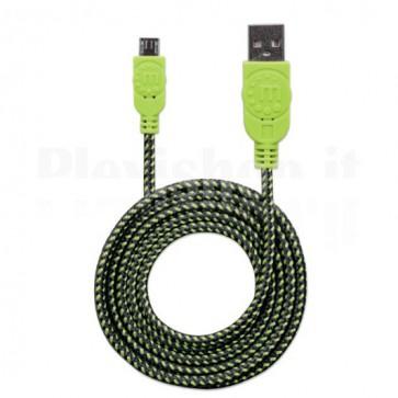 Cavo Micro USB Guaina Intrecciata USB2.0 A M/MicroB M 1m Nero/Verde