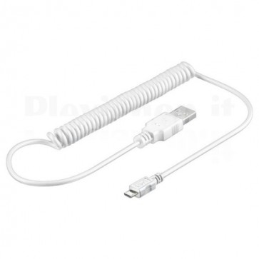Cavo USB 2.0 Spiralato A maschio/microB 5 pin maschio 1m Bianco