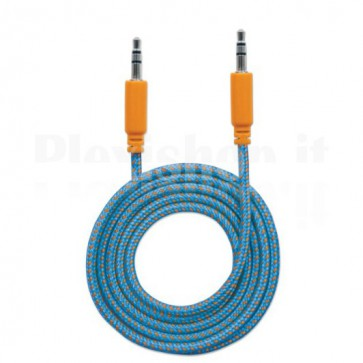 Cavo Audio con Guaina Intrecciata 1m Blu/Arancione