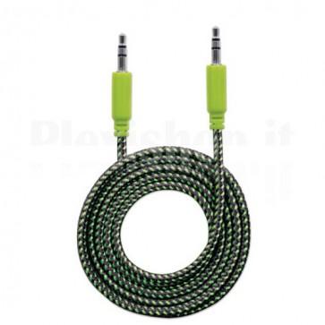 Cavo Audio con Guaina Intrecciata 1,8m Nero/Verde