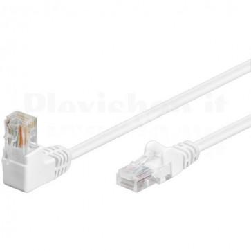 Cavo di rete Patch Connettore Angolato 90° CCA Cat. 5e UTP 0,5m Bianco