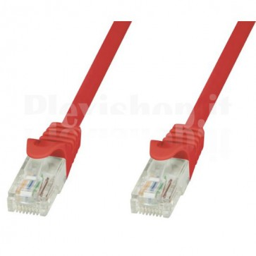 Cavo di rete Patch in CCA Cat.6 Rosso UTP 7,5m