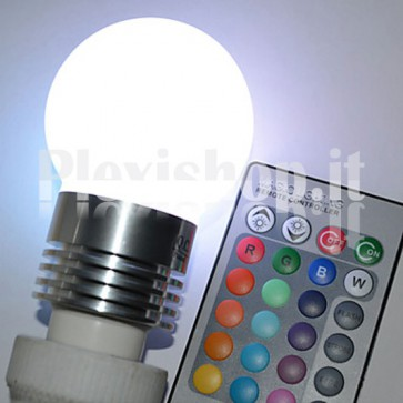 Lampadina E 27 RGB Miniglobo 3W + Telecomando