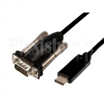 Convertitore Adattatore da USB-C a Seriale RS232 1,5m Nero