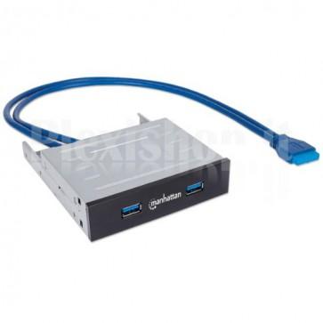 """Hub Interno 2 Porte USB 3.0 in Metallo su Alloggiamento 3.5"""""""