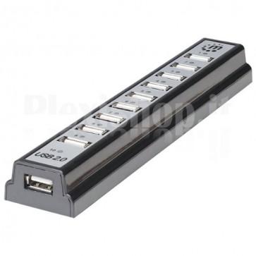 Hub USB 2.0 Hi-Speed 10 Porte da Tavolo con Alimentatore