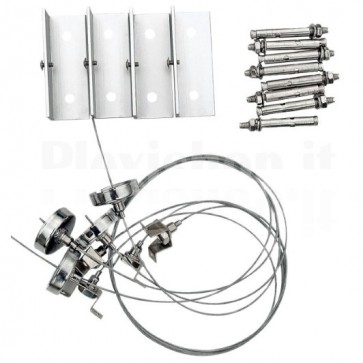 Kit di Sospensione Regolabile per Pannelli LED 60x60cm 4pz