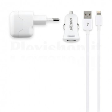 Kit Caricabatteria 3in1 Lightning per iPhone/iPad 2.1A Bianco