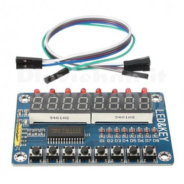 Arduino and MCU module with 8 switches, 8 led and 8-digit 8-segment display
