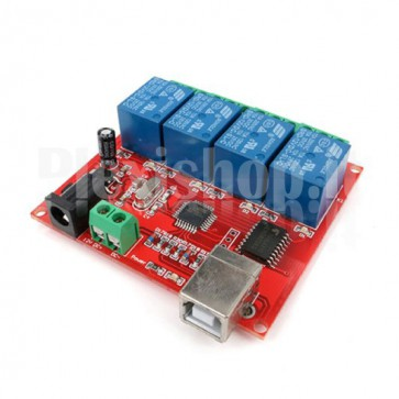4 Channels USB Relay Module, 10A