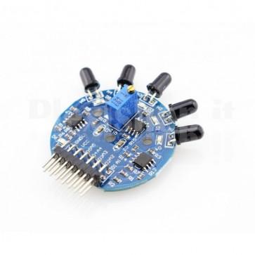 Modulo sensore rivelatore di fiamme libere sino a 180°, 6 canali