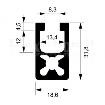 Profilo strutturale in alluminio S116 - 2,2 mt