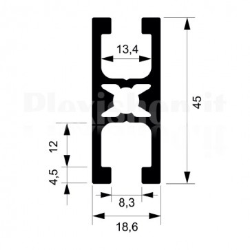 Profilo strutturale in alluminio S117 - 2,2 mt