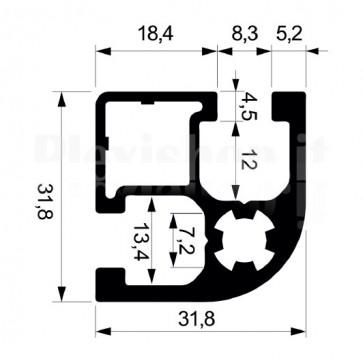 Profilo strutturale in alluminio S180 - 2,2 mt