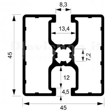 Profilo strutturale in alluminio S46 - 2,2 mt